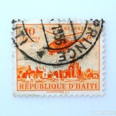 Sellos: SELLO POSTAL HAITÍ 1955, 10 C, SOBRECARGO A FAVOR DE LAS VICTIMAS DEL CICLON, HAZEL, USADO. Lote 236954460