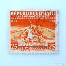 Sellos: SELLO POSTAL HAITÍ 1954, 25 C, 150 ANIV. DE LA INDEPENDENCIA, MARIE JEANNE Y LAMARTINIERI, USADO. Lote 236955705