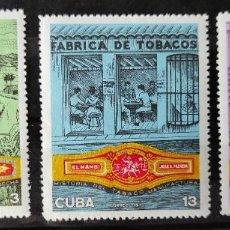 Sellos: CUBA 1970-INDUSTRIA DEL TABACO MICHEL1606/08 SIN SEÑAL DE CHARNELA. Lote 243067810