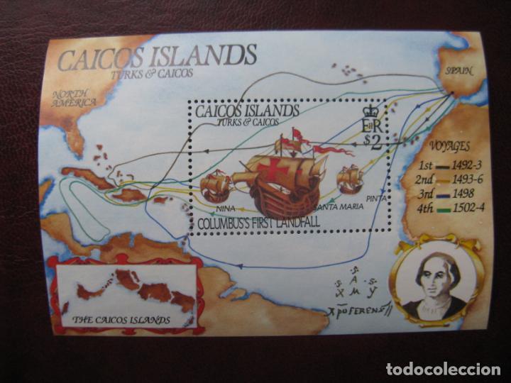 +TURKS & CAICOS, ISLAS CAICOS, 1984, HOJITA BLOQUE 492 ANIV.DESEMBARCO DE CRISTOBAL COLON,YVERT 6 (Sellos - Extranjero - América - Otros paises)