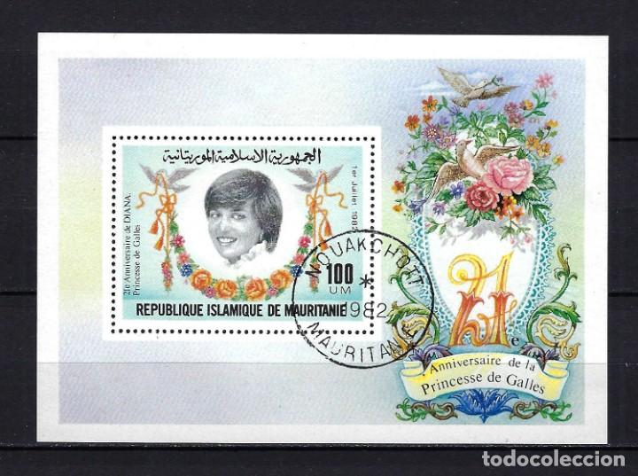 1982 MAURITANIA YVERT HB 35 HOJA BLOQUE 21 ANIVERSARIO PRINCESA DE GALES LADY DI SELLADO (Sellos - Temáticas - Varias)