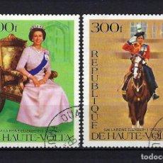 Sellos: 1977 ALTO VOLTA - BURKINA FASO MICHEL 676/677 JUBILEO REINA ISABEL II DE INGLATERRA USADOS. Lote 244907760