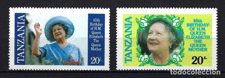 1985 TANZANIA YVERT 262 A/B 85 ANIVERSARIO REINA MADRE DE INGLATERRA MNH** NUEVOS (Sellos - Temáticas - Varias)