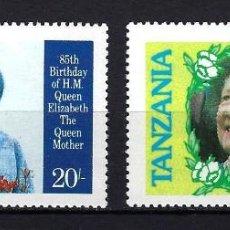 Sellos: 1985 TANZANIA YVERT 262 A/B 85 ANIVERSARIO REINA MADRE DE INGLATERRA MNH** NUEVOS. Lote 244907900