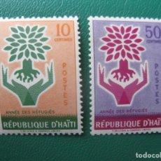 Sellos: HAITI, 1960, AÑO MUNDIAL DEL REFUGIADO, YVERT 431/2. Lote 245460350