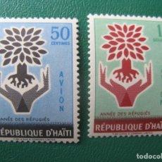 Sellos: HAITI, 1960, AÑO MUNDIAL DEL REFUGIADO, YVERT 187/8 AEREOS. Lote 245460615