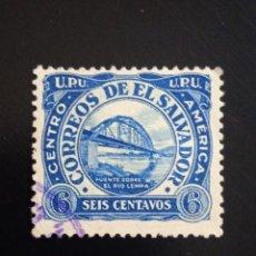 Sellos: EL SALVADOR 6 CENTS PUENTE SOBRE RIO LEMPA, AÑO 1945.. Lote 245954015