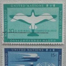 Sellos: 1951. ONU NUEVA YORK. A-2, A-3. SIMBOLOGÍA DE LA AVIACIÓN, CORREO POSTAL AÉREO. USADO.. Lote 246094420