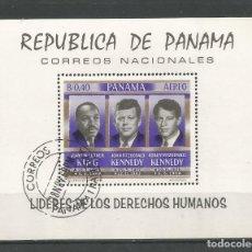 """Sellos: SELLOS DE PANAMÁ HOJA BLOQUE NUEVA """"LÍDERES DE LOS DERECHOS HUMANOS"""". Lote 267409569"""