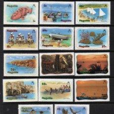 Sellos: ANGUILLA 425/40** - AÑO 1982 - LA VIDA EN ANGUILLA - FAUNA - FLORA - AVES - PECES - PAISAJES. Lote 268747319