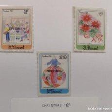 Sellos: O) 1985 SAN VICENTE, MUESTRA, NAVIDAD, DIBUJOS INFANTILES, SERENADA, POINSETTIA, JESÚS NUESTRO MAEST. Lote 270402293