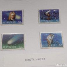 Sellos: O) 1986 SAN VICENTE, MUESTRA, ASTRONOMÍA, EDMOND HALLEY, COMETA DE HALLEY, TELESCOPIO REFLECTOR DE N. Lote 270410033