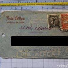 Sellos: SOBRE ANTIGUO. SELLOS. CHILE. HOTEL CRILLON. AÑO 1948. CIRCULADO SANTIAGO DE CHILE A MÁLAGA. Lote 276966713