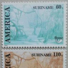 Sellos: 1990. SURINAM. 1202 / 1203. TIERRAS DE MANGLE, ARBUSTOS TROPICALES. SERIE COMPLETA. NUEVO.. Lote 277142303