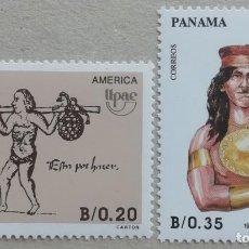 Sellos: 1990. PANAMÁ. 1071 / 1072. PORTADOR DE AGUA, ORNAMENTOS INDIOS EN ORO. SERIE COMPLETA. NUEVO.. Lote 277142618