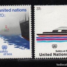 Sellos: NACIONES UNIDAS NEW YORK 385/86** - AÑO 1983 - BARCOS - ORGANIZACION MARITIMA INTERNACIONAL. Lote 277516133