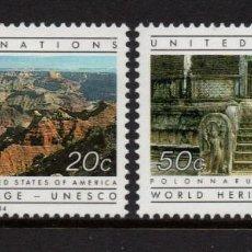 Sellos: NACIONES UNIDAS NEW YORK 412/13** - AÑO 1984 - PATRIMONIO MUNDIAL DE LA UNESCO. Lote 277516433