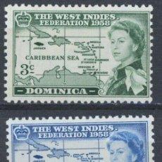 Sellos: DOMINICA 1958 IVERT 156/8 ** FEDERACIÓN DE LAS INDIAS OCCIDENTALES - REINA ISABEL II. Lote 287655233
