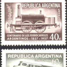 Sellos: ARGENTINA 1957 GJ 10845 ME 577 A47 MINT FERROCARRIL TREN ED. 845. Lote 288295743