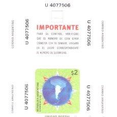 Sellos: ARGENTINA SELLO POSTAL DE ALTA SEGURIDAD N 4 TIPO U. Lote 288295748