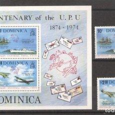 Sellos: DOMINICA 1974 UPU CENTENARY SET+PERF. SHEET MI.417-418+B28 MNH M.204. Lote 288535058