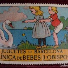 Sellos: SELLO JUGUETES BARCELONA CLINICA DE BEBES 3 OBISPO 3. Lote 289746863