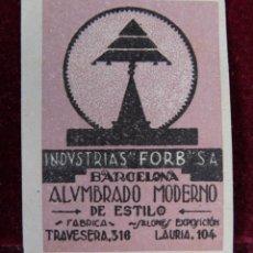 Sellos: SELLO INDUSTRIAS FORB SA BARCELONA ALUMBRADO MODERNO. Lote 289747333