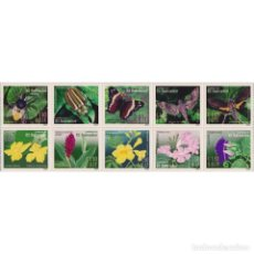 Sellos: SV2387ML SALVADOR 2003 MNH INSECTS AND FLOWERS. Lote 293410573