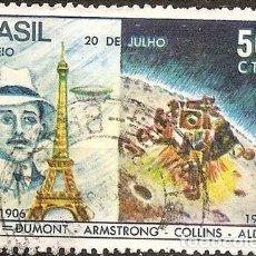 Sellos: BRASIL SANTOS DUMONT SERIE YVERT 907 ANO 1969 TAMANO GDE. Lote 294276388