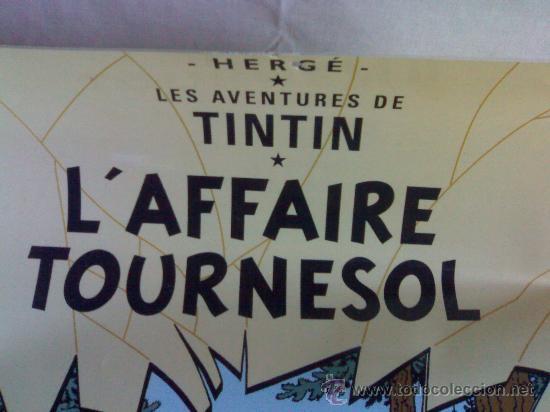 Cine: antiguo poster plastificado de tintin y sus aventuras en ingles mide 61,5 cmtrs alto x 44 cmtrs anch - Foto 2 - 27133249
