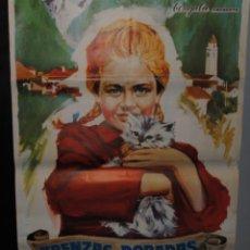 Cine: CARTEL DE CINE ORIGINAL DE LA PELÍCULA TRENZAS DORADAS, 1966, 70 POR 100CM. Lote 41388195