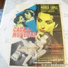 Cine: POSTER ORIGINAL MEXICANO CASA DE MUÑECAS MARGA LÓPEZ ERNESTO ALONSO DISEÑADO POR JOSEPH RENAU 1953. Lote 109019099