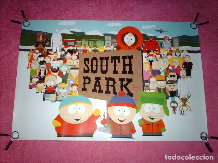 POSTER PERSONAJES SOUTH PARK - KYLE, STAN, CARTMAN Y KENNY - COMEDY CENTRAL - RARO - SIN ESTRENAR (Cine - Posters y Carteles - Series TV)