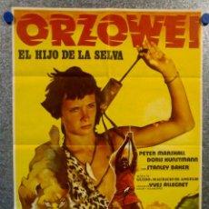 Cine: ORZOWEI. EL HIJO DE LA SELVA. STANLEY BAKER PETER MARSHALL. SERIE TV. POSTER ORIGINAL. Lote 159394054