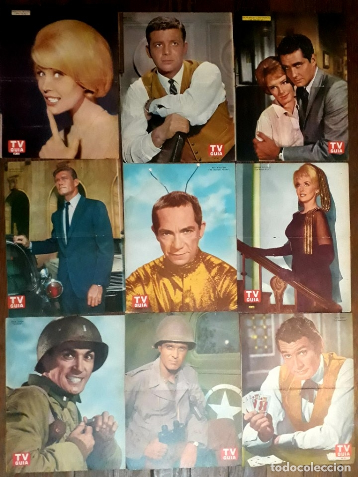 LOTE DE 77 LÁMINAS ACTORES SERIES EXTRANJERAS REVISTA TV GUÍA ARGENTINA. LASSIE BONANZA COMBATE ETC (Cine - Posters y Carteles - Series TV)