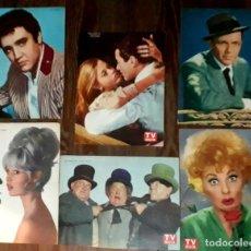 Cine: LOTE DE 6 LÁMINAS ACTORES REVISTA TV GUÍA SINATRA BARDOT PRESLEY 3CHIFLADOS LUCILLE BALL JANE FONDA . Lote 180043680