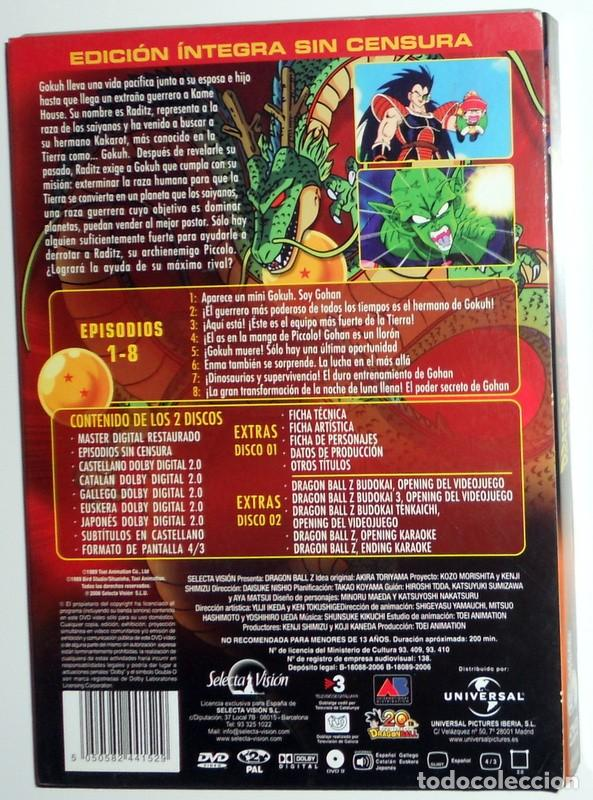 Series de TV: DRAGON BALL Z 20 ANIVERSARIO EDICION REMASTERIZADA SIN CENSURA SERIE TV EPISODIOS 1-8.SELECTA VISION - Foto 2 - 116483623