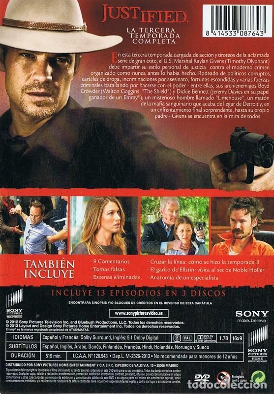 Series de TV: JUSTIFIED 3ª TEMPORADA COMPLETA TIMOTHY OLYPHANT ( 3 DVD) - Foto 2 - 128641971