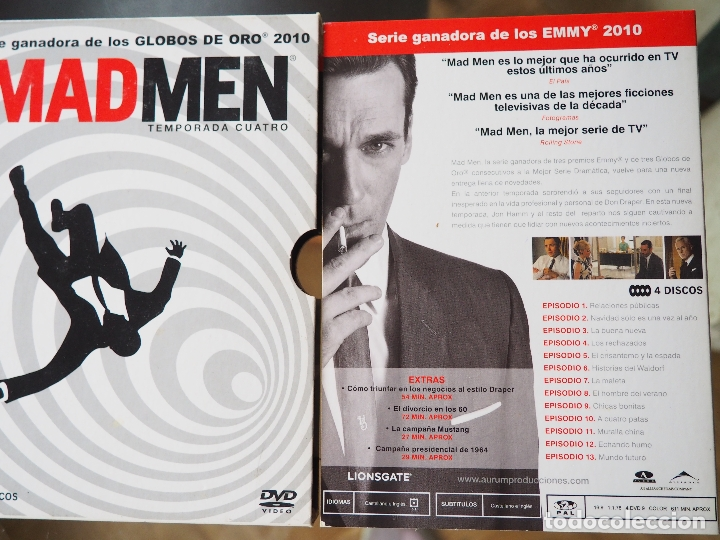 SERIE MADMEN. MAD MEN. CUARTA TEMPORADA. 4 DVD