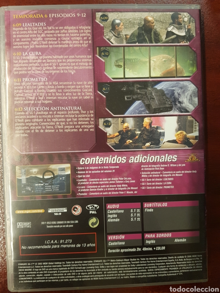 Series de TV: STARGATE SG.1 DVD TEMPORADA 6 DISCO 3 - Foto 2 - 194390457