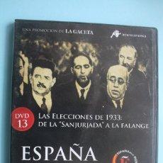 Series de TV: LAS ELECCIONES DE 1933: DE LA SANJURJADA A LA FALANGE – DVD DOCUMENTAL Nº 13 ESPAÑA EN LA MEMORIA . Lote 202368340