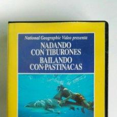Series de TV: NADANDO CON TIBURONES NATIONAL GEOGRAPHIC VHS. Lote 114308888