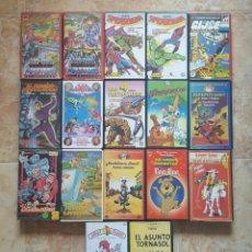 Cine: VHS - LOTE 17 CINTAS DIBUJOS - HE-MAN, SPIDERMAN, GI JOE, 4 FANTASTICOS, CAZAFANTASMAS, PÁJARO LOCO. Lote 133661629