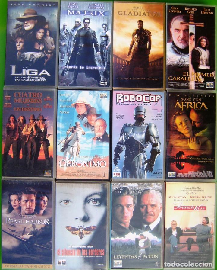 LOTE 12 PELICULAS VHS - MATRIX, ROBOCOP, GLADIATOR, LEYENDAS DE PASION, PEARL HARBOURG (Series TV en VHS )