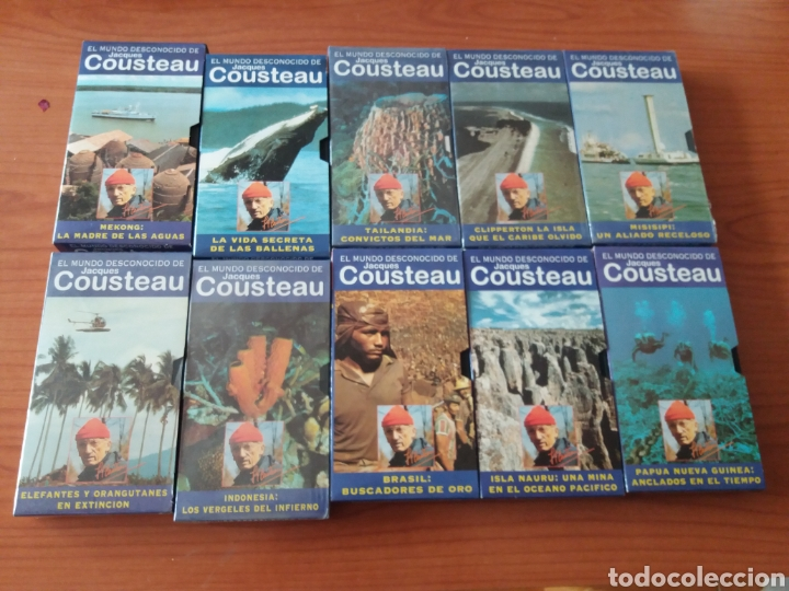 10 CINTAS EL MUNDO DESCONOCIDO JACQUES COUSTEAU (Series TV en VHS )