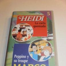Series de TV: HEIDI ( LA CARTA QUEMADA ) , MARCO ( PEPPINO Y SU TROUPE ) , VHS NUMERO 5 COLECCION RBA . 1999 .. Lote 194154428