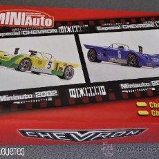 Slot Cars: CAJA 2 CHEVRON B19 Y B21 MINIAUTO 2002 DE FLY PARA GB TRACK. Lote 30286238