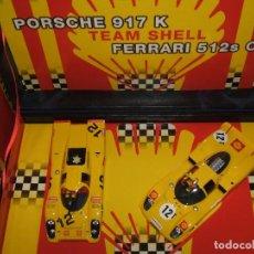 Slot Cars: TEAM-SHELL PORSCHE 917 Y FERRARI 512S DE FLY REF.-96065. Lote 87473744
