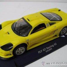 Slot Cars: FLY SAALEN COLOR AMARILLO EJES CALIBRADOS Y LLANTAS DE COMPETICION.CORONA PLASTICO . Lote 95802275