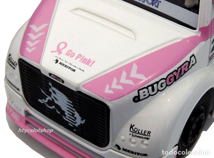 Slot Cars: FLYSLOT CAMION BUGGYRA MK08 #25 ELLEN LOHR GO PINK CANCER EDITION LE MANS ETRC 2013 TRUCK FLY 205104 - Foto 5 - 220110826
